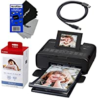 "Canon Selphy CP1200 Wireless Color Photo Printer (Black) + Canon KP-108IN Color Ink Paper Set (Produces up to 108 of 4 x 6"" prints) + USB Printer Cable + 2 HeroFiber Ultra Gentle Cleaning Cloths"