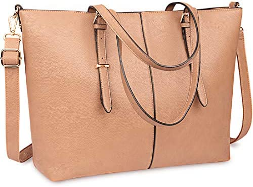 Laptop Tote Bag for Women 15.6 Inch Waterproof Lightweight Leather Computer Laptop Bag Women Business Office Work Bag Briefcase Large Travel Handbag Shoulder Bag Khaki