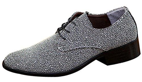 MYXUA Herren Lace Derby Schuhe Offizielle Bankett Schuhe Friseur Schuhe Business Casual Schuhe Grey