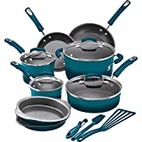 15-Piece Durable Aluminum Construction Shatter Resistant Blue Nonstick Cookware Set
