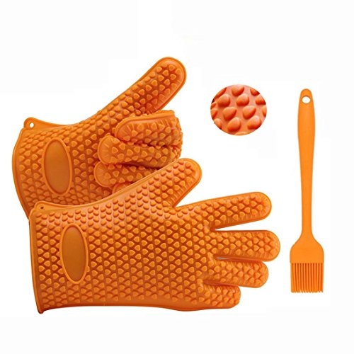 Fheaven Silicone Kitchen Cooking Silicone BBQ /Cooking Gloves Plus Silicone Brush Baking Tool (Glove,Small (Oil Spill Skimmer)