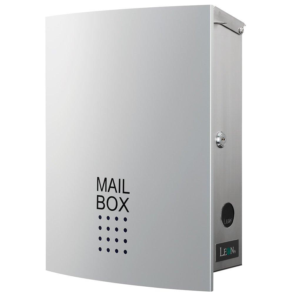 LEON (レオン) MB4504ネオ 郵便ポスト 壁掛けタイプ ステンレス製 鍵付き おしゃれ 大型 ポスト 郵便受け (マグネット付き) シルバー B01N287BI6 24624 シルバー シルバー