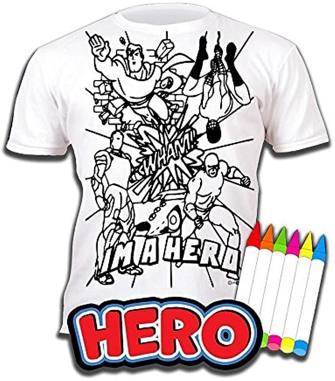 Splat Planet Camiseta HÉROE para niños. con impresión para Pintar ...