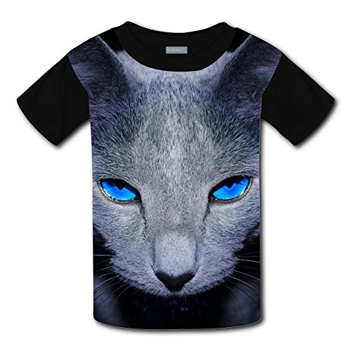 Qualra Kids Fashion Blue Eyes Cat 3D Print T-Shirts Short Sleeve Tees