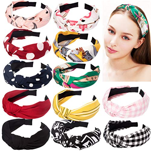 Ondder 12 Pack Knotted Headbands for Women, Turban Headbands for Women Hard Headband Headwear Cute Floral Headbands Hair Accessories for Women Ladies and Young Women (12 Pcs Knot Headbands)