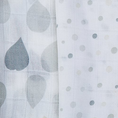 Amazing Baby Silky Swaddle Muslin Blankets, Set of 2, Viscose from Bamboo, Drops and Dots, Sterling