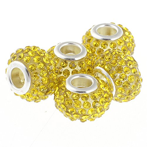 RUBYCA Big Hole Large Czech Crystal Charm Beads fit European Charm Bracelet (20pcs, Yellow, 15mm) (Chains Gold Yellow Bracelets Glass)