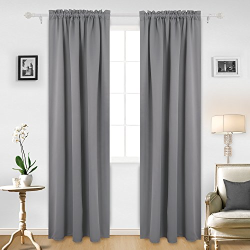 Drapery Panel Set - Deconovo Rod Pocket Room Darkening Curtain Thermal Insulated Blackout Curtains for Living Room 42W x 95L Inch Light Grey 2 Panels