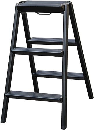 LIZITD Escalera, Aluminio Simple Negro/Blanco / marrón, Escalera doméstica Plegable 3/4 Pasos de Interior y Exterior (Color : Black, Tamaño : 4 Steps): Amazon.es: Hogar