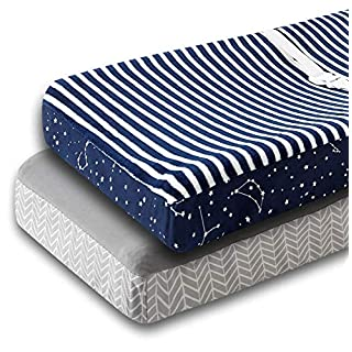 """Ultra Plush Changing Pad Cover - 2 Pack Changing Table Pad Covers Made with Stretchy Washable Fleece - 16x32"""" Size Universal Fit with 6"""" Deep Pocket - 2 Pack Navy and Grey"""