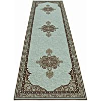 Persian Medallion Runner Rug Slip Skid Resistant Rubber Backing Anti Bacterial Area Rug (Turquoise Brown, 210 x 10)