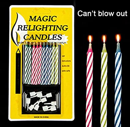 Scherzartikel 20pcs MAGIC Relighting Joke Trick Prank Funny Birthday Cake Candles With Holders