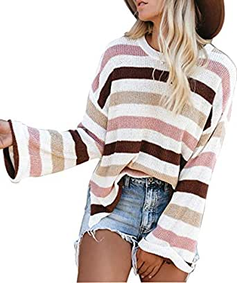LEANI Women Long Sleeve Crew Neck Striped Color Block Knit Sweater Oversize Pullover Jumper Tops Pink