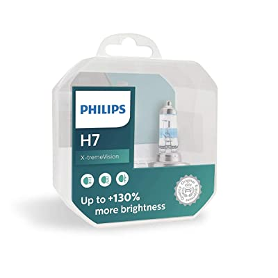 Philips X-treme Vision +130% Headlight Bulbs (Pack of 2) (H7 55W): Automotive