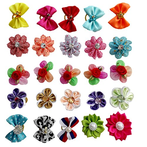 PET SHOW Assorted Styles Flowers Bows Rhinestone Topknot Dog Hair Bows with rubber bands for Small Pet Dogs Cat Grooming Products Assorted Color Pack of 20