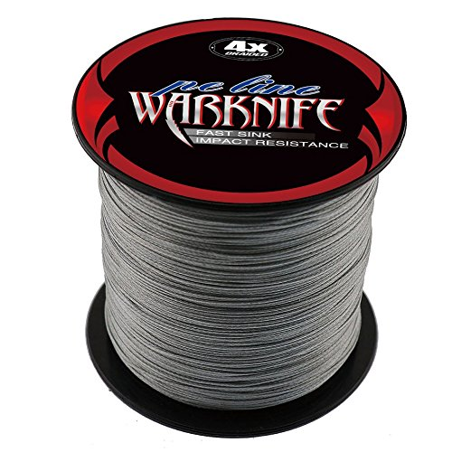 Warknife 4 Stands Super Strong Braided Fishing Line Tensile Strength 500Meters/546.8Yards 80LB Gray Review