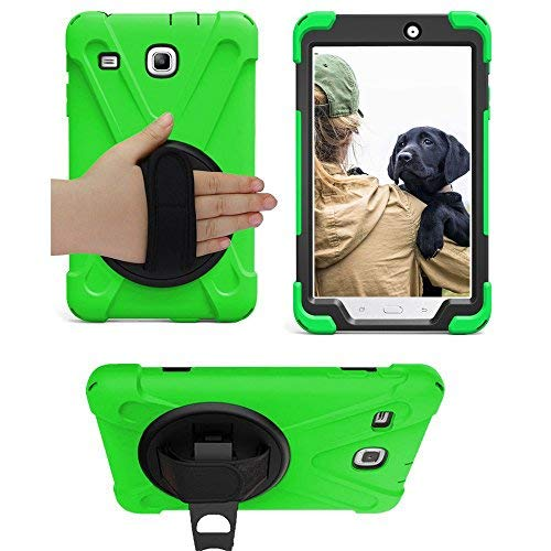 Galaxy Tab E 8.0 T377 Case, KIQ Cover Shockproof Protective Shield Case Cover Palm Handstrap for Samsung Galaxy Tab E 8.0 SM-T377 [2016] SM-T377 (Shield Green) from KIQ