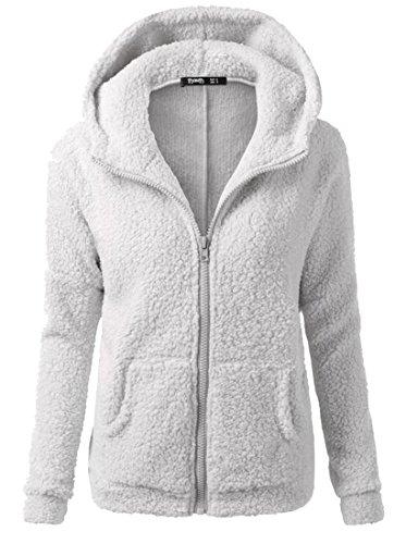 Coat Fall Winter Light Women's Sweatershirt Zipper Hoodies Generic Grey Woollen Warm xwHq4Y7Y