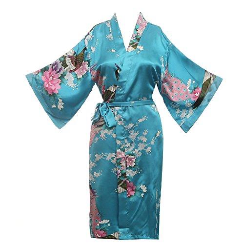 missfashion Women's Kimono Robe Peacock & Blossoms Satin Nightwear (Large, -