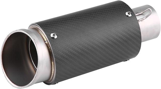 Qiilu Motorrad Auspuffrohr Carbon Fiber Edelstahl Motorrad Schalldämpfer Auspuffendrohr Tipp Endrohr Universal Auto