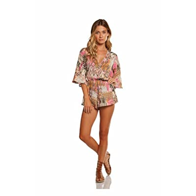 An Elan Usa Cute 3/4 Sleeve Style Romper and Necklace (S7025)