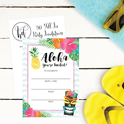 50-Hawaiian-Luau-Summer-Swim-Pool-Party-Invitations-for-Children-Kids-Teens-Adults-Summertime-Birthday-Cookout-Invitation-Cards-Boys-Girls-Floral-Fill-In-Invite-Family-Reunion-BBQ-Invites