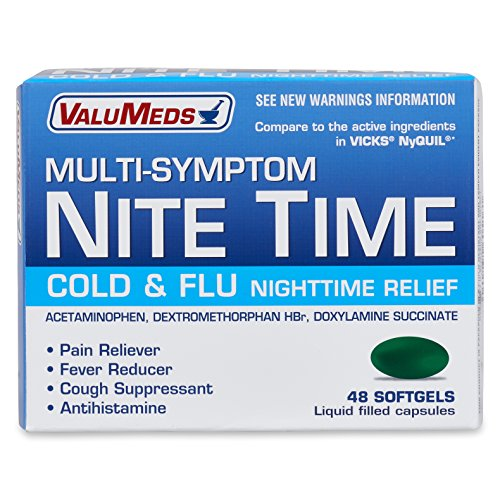ValuMeds Cough, Cold, and Nighttime Relief (48 Softgels) Helps Relieve Sore Throat, Fever, Headaches, Runny Nose, Aches (Compare to Active Ingredients in NyQuil Cold & Flu) by ValuMeds
