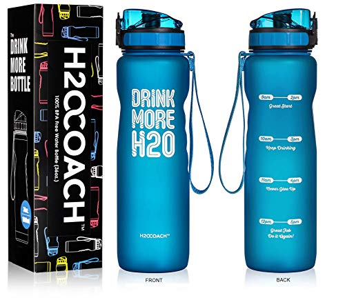 (H2OCOACH Sports Water Bottle with Time Marker | Motivational 36 oz, Drink More, Reusable with Fruit Infuser Filter (1 Liter))