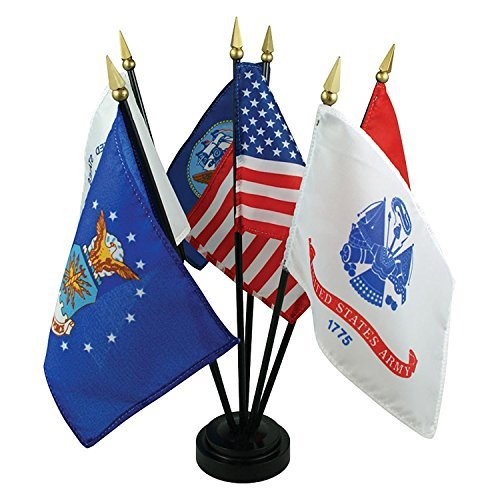 Wholesale Lot of 10 US Armed Forces Desk Set - 6 Flags by AES
