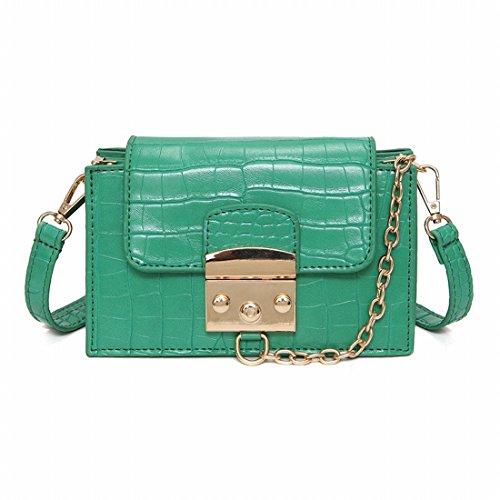 Patrón de Cocodrilo Femenino Pequeño Paquete Cuadrado de Paquete de Diagonal de la Bolsa de Hombro de la Cerradura de la Manera , Verde