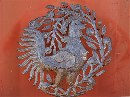 Metal Rooster, Country Kitchen Wall Art, Sturdy Artistic Design from Haiti 15.5'' X 15.75'' by it's cactus - metal art haiti (Image #2)