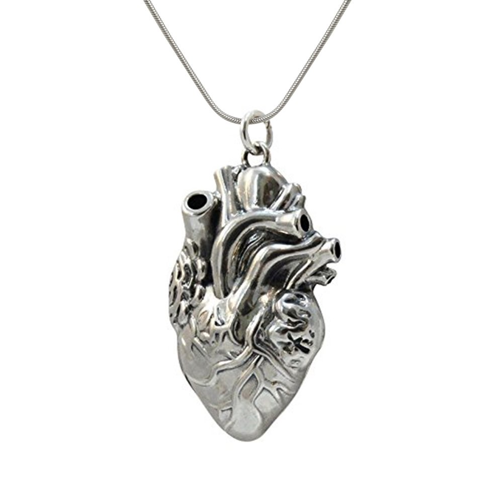 Sterling Silver Lifelike Anatomical Heart Locket, 18'' Snake Chain