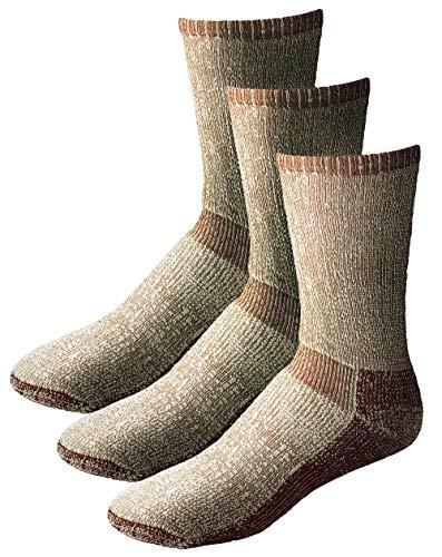 EchoGorge Expedition Heavy Weight Merino Wool Hiking Socks 3 Pair. Made in USA (Large, Dark Brown)