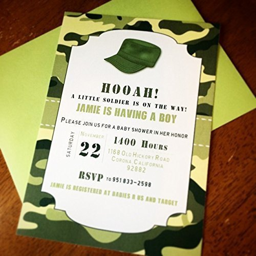 Amazon little army camo military baby shower invitations handmade little army camo military baby shower invitations filmwisefo Gallery