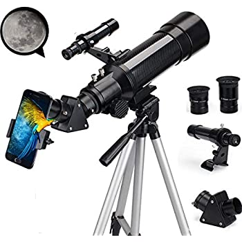 EastPole 70mm Telescope for Beginners and Kids, Refracter Travel Scope for Viewing Moon Stargazing and Outdoor Activities, FMC Lens, BAK4 Prism, Metal Tripod and 2019 New Telescope Smartphone Mount