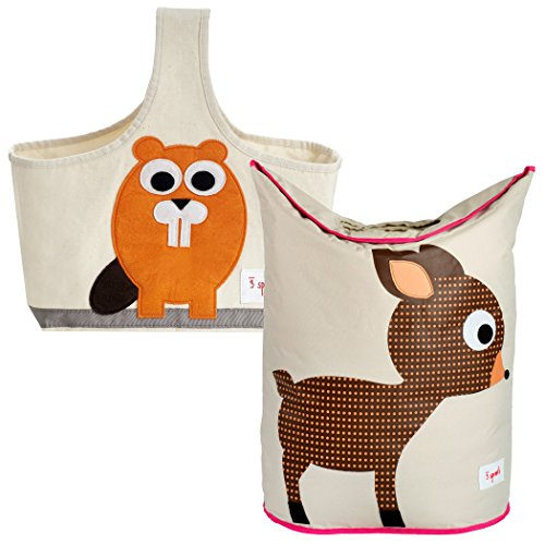 3 Sprouts Storage Caddy and Laundry Hamper, Beaver/Deer