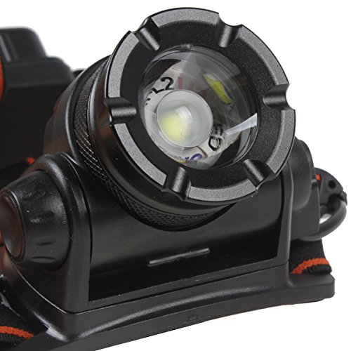 WindFire® 1800 Lumens CREE XM-L T6 U2 LED Waterproof 3 Modes Zoomable Rotating Headlamp Adjustable Focus Headlight 18650 Battery Power Indicator Head LED Torch Flashlight with AC Charger and 2 X WindFire Rechargeable batteries for Camping, Riding by WindFire® (Image #7)
