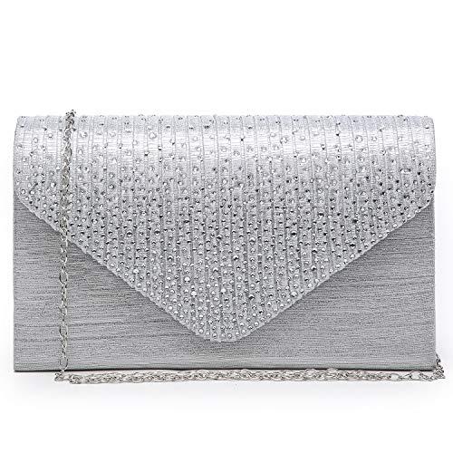 Dasein Ladies Frosted Satin Evening Clutch Purse Bag Crossbody Handbags Party Prom Wedding Envelope (Silver)