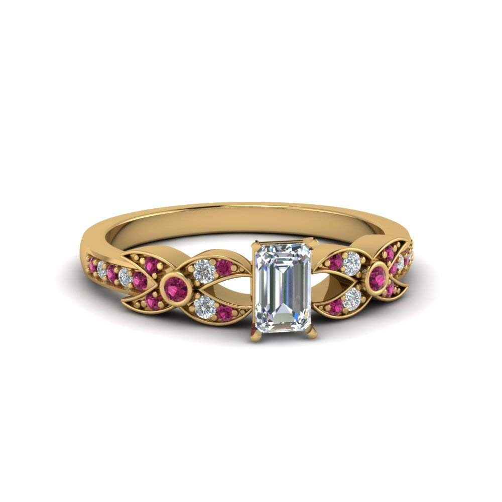 Silvergemking 14K Yellow Gold Pl X Pattern Engagement Ring with 1.53CT Emerald CZ & Pink Sapphire Diamond