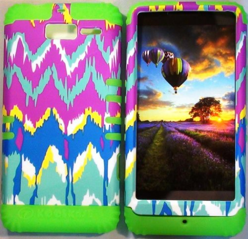 Cellphone Trendz (TM) Hybrid High Impact Bumper Case Tie-Dye Aztec Tribal / Lime Green Silicone for Motorola DROID RAZR M (XT907, 4G LTE, Verizon)