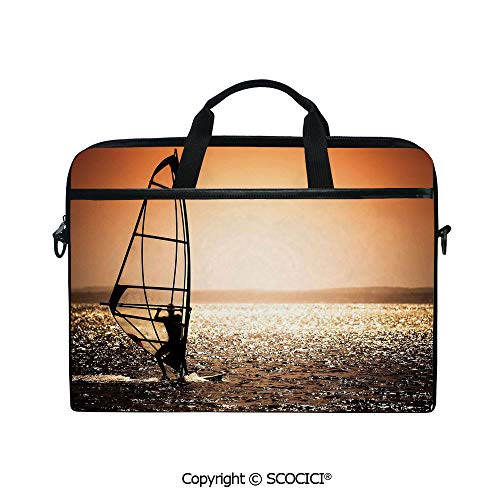 (Laptop Sleeve Notebook Bag Case Messenger Shoulder Laptop Bag Windsurfer Silhouette Sunset Water Sports Summertime Fun Holiday with Handle and Extra Side Pockets)