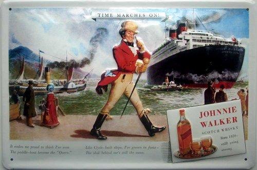 Johnnie Walker Whisky Queen Elizabeth embossed steel sign 12