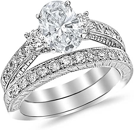 1.78 Ctw 14K White Gold GIA Certified Oval Cut Three Stone Vintage With Milgrain & Filigree Bridal Set with Wedding Band & Diamond Engagement Ring, 0.75 Ct G-H VS1-VS2 Center