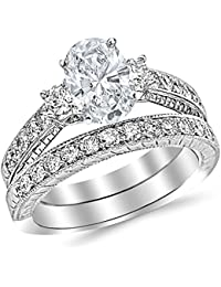178 ctw 14k white gold gia certified oval cut three stone vintage with milgrain filigree bridal set with wedding band diamond engagement ring - Engagement Rings And Wedding Band Sets