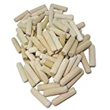 "100 Pack 3/8"" x 2"" Wooden Dowel Pins Wood Kiln Dried Fluted and Beveled, Made of Hardwood in U.S.A."