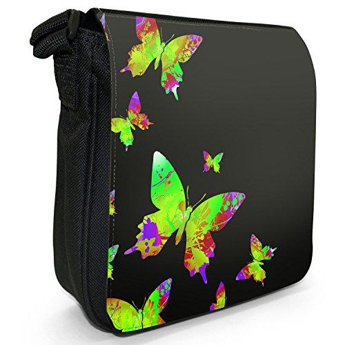 Bag Size Butterflies Rainbow Shoulder Black Canvas Splash Small Green Paint A0w01q7a