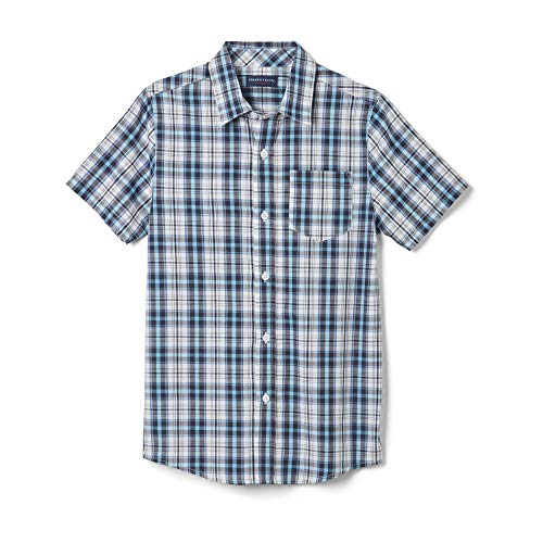 French Toast Boys' Little Short Sleeve Woven Shirt, Island Sky Plaid 4