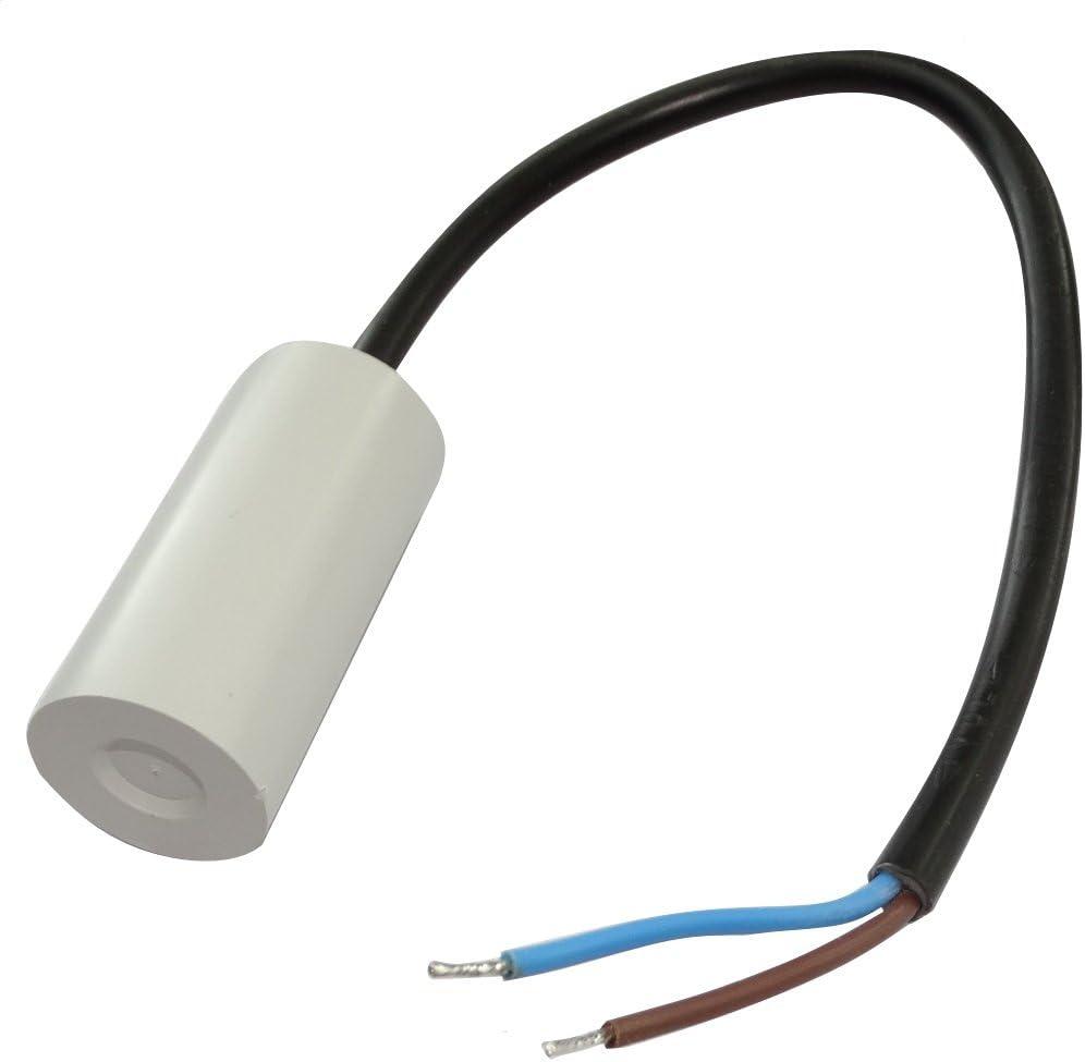 Condensatore permanente di lavoro per motore 3/µF 450V con cavo 25cm /Ø25x53mm /±10/% 10000h C18724 AERZETIX