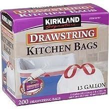 Kirkland Signature Drawstring Kitchen Trash Bags-13 Gallon, 200 Count