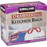 #6: Kirkland Signature Drawstring Kitchen Trash Bags - 13 Gallon - 200 Count